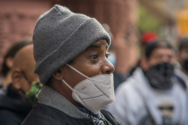 Homeless activists held a press conference outside the Lucerne Hotel on the Upper Westside of Manhattan after learning that the group of more than 200 men were being displaced and sent to another hotel downtown.