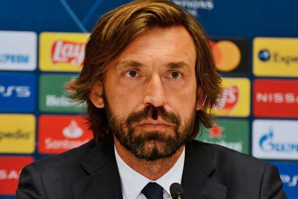 KYIV, UKRAINE - OCTOBER 20, 2020 - Head coach of FC Juventus Andrea Pirlo is pictured during the press conference of the UEFA Champions League group