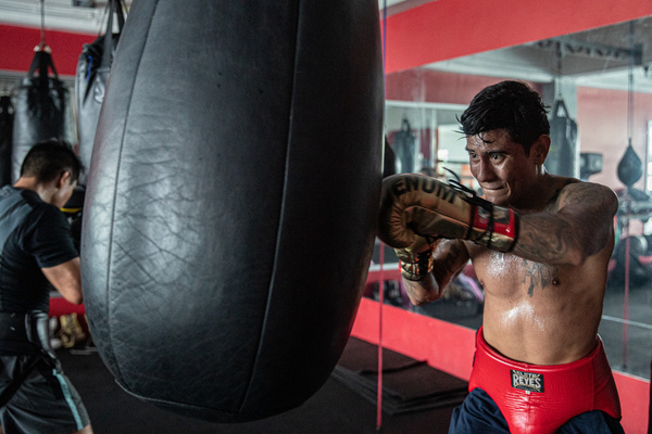 CANCUN, MEXICO - OCTOBER 20: Alexis Bastar boxing fighter, training in the ring to prepares his body and improve their  techniques to be ready for their next fight amid Covid-19 pandemic on October 20, 2020 in Cancun, Mexico