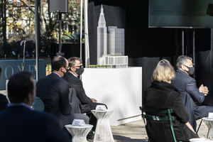 Scale architectural model seen during groundbreaking ceremony for One Madison Avenue at Madison Square Park. More than one billion dollars were committed to create this green project.