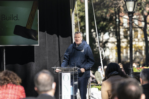 Mayor Bill de Blasio speaks during groundbreaking ceremony for One Madison Avenue at Madison Square Park. More than one billion dollars were committed to create this green project.