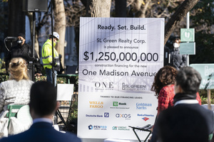 Atmosphere during groundbreaking ceremony for One Madison Avenue at Madison Square Park. More than one billion dollars were committed to create this green project.