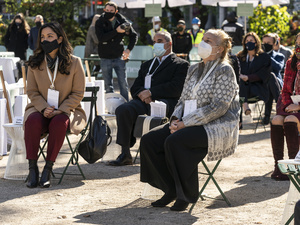 City Council member Carlina Rivera and Manhattan Borough President Gale Brewer attend groundbreaking ceremony for One Madison Avenue at Madison Square Park. More than one billion dollars were committed to create this green project.