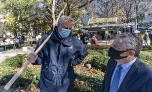 Mayor Bill de Blasio and Marc Holliday attend groundbreaking ceremony for One Madison Avenue at Madison Square Park. More than one billion dollars were committed to create this green project.
