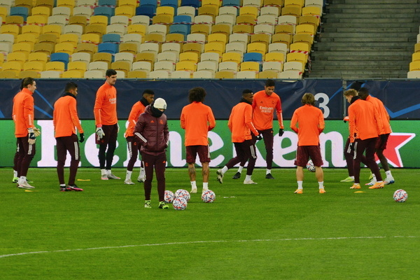 KYIV, UKRAINE - NOVEMBER 30, 2020: Real Madrid's players warm up during a training session ahead of the Champions League, Group B, soccer match between Shakhtar Donetsk and Real Madrid at the Olimpiyskiy Stadium in Kyiv