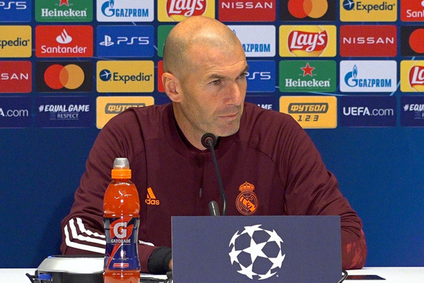 Real Madrid's head coach Zinedine Zidane attends a press conference ahead of the Champions League, Group B, soccer match between Shakhtar Donetsk and Real Madrid at the Olimpiyskiy Stadium in Kyiv.