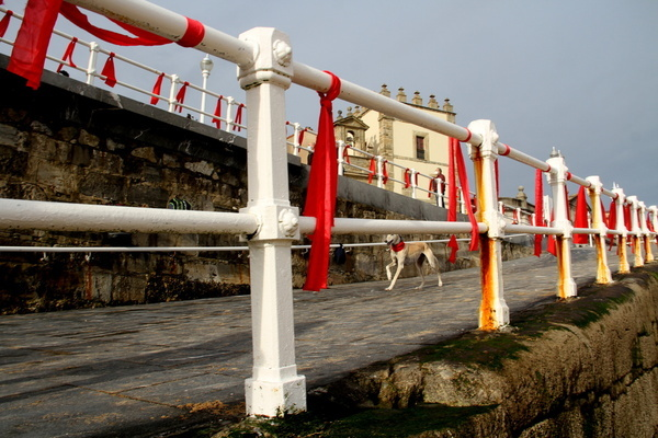 Gijon fills with red ribbons to commemorate World AIDS Day in the beach of San Lorenzo.
