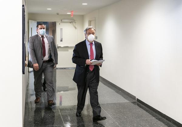 United Nations Secretary-General Antonio Guterres seen at the hallway of UN Headquarters.