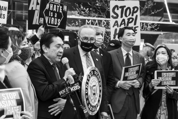 Rally in Koreatown to pass Senate bill that bolsters DOJ efforts to combat rise of hate crimes. Elected officials, activists attended rally organized by Senate Majority Leader Charles Schumer and U. S. Representative Grace Meng. Senate Majority Leader Charles Schumer, Ambassador Cho Hyun seen at the rally.