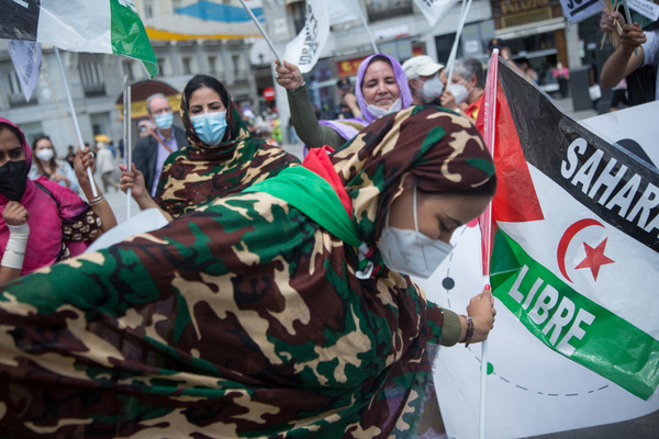 Sahrawi activists from different parts of Spain protest in Madrid.