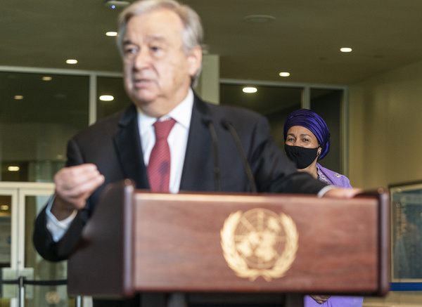 Amina Mohammed seen behind as Secretary-General Antonio Guterres addresses press after re-election for the second term at UN Headquarters. Amina Mohammed was chosen by SG to serve as his deputy during second term. Antonio Gutterres in his remarks outlined main priorities for his second term as SG of United Nations.