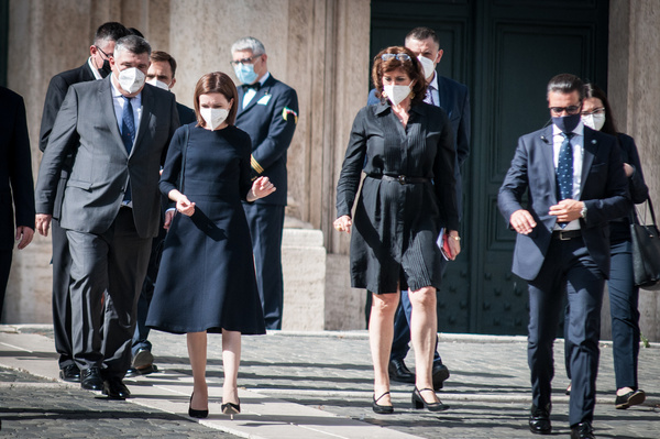 President of the Republic of Moldova Maia Sandu at the exit of Palazzo Montecitorio, after meeting with the President of the Chamber of Deputies, Roberto Fico, and the President of the Foreign Policy Committee of the Chamber of Deputies, the Honourable Piero Fassino.