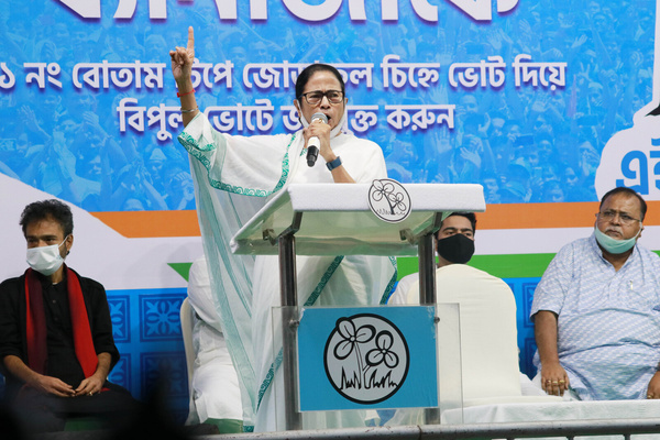 Mamata Banerjee, Chief Minister of West Bengal and TMC (Trinamool Congress) candidate for Bhawanipur Assembly addresses at the Election Campaign for Assembly By-poll in Kolkata.