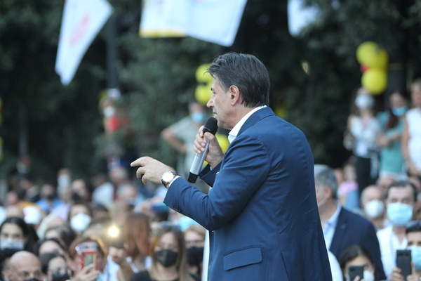 Former Prime Minister of Italy Giuseppe Conte gestures a speech at Arzano province of Naples, southern Italy, to support the candidate Vincenza Aruta for mayor of Arzano.