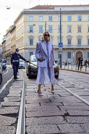 MILAN, ITALY - September 26 : Candela  , outside Philosophy, during Milan Fashion Week 2020-2021, on september26,  2020 in Milan, Italy.