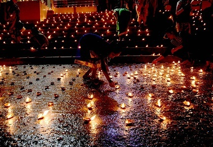 Indians celebrate Dev Deepawali during the covid-19 pandemic situation.
