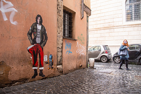 Mural created by streetartist HarryGreb in Rome, dedicated to John Lennon, who was killed in New York on December 8, 1980, 40 years ago