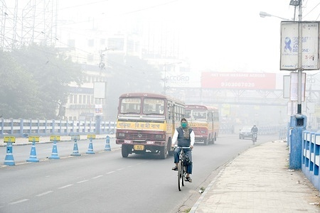 Dense fog  disrupts travel and sometimes reduced the visibility to 10 meters.