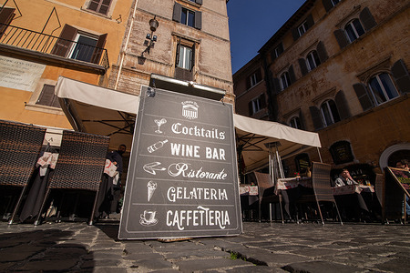 View of a bar in Piazza della Rotonda, in front of the Pantheon, in Rome