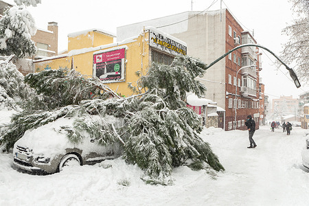 Consequences of the Filomena storm in Alcobendas and San Sebastián de los Reyes (Madrid) after more than 21 hours of snow. Alcobendas/San Sebastián de los Reyes (Madrid).