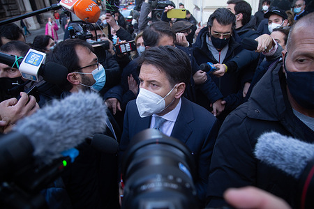 Prime Minister wearing face mask Giuseppe Conte speaks to journalists after speaking with the President of the Republic Sergio Mattarella at the Quirinale.