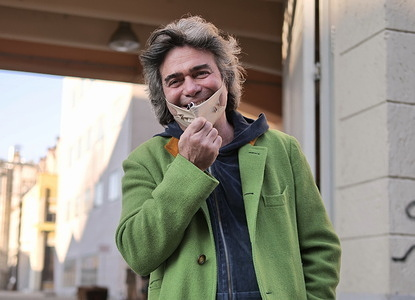 Milano man fashion week 2021 due to health emergency all fashion shows are broadcast in streaming. The official Etro parade was also canceled and recorded by one day. Here Kean Etro posing for photographers.