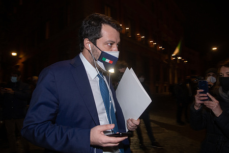 Matteo Salvini, senator and leader of Lega, enters the Senate Building for the vote of confidence in the Italian Government chaired by Giuseppe Conte.