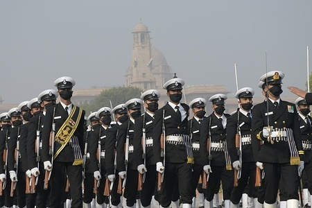 Indian army soldiers participate in  rehearsal for the upcoming Republic Day parade in Delhi.