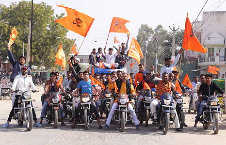 Hindu volunteers take part in a vehicle rally held for Ayodhya Ram Mandir, in Beawar. A mass contact and contribution campaign is being conducted by Shri Ram Janmabhoomi Teerth Kshetra to raise funds for construction of Ram Temple in Ayodhya.