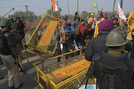 Clash between Farmers and Delhi police during Kissan Gantantra Diwas parade from Singhu Border to Lal Kila (Red Fort) in old Delhi during Indian Republic Day.