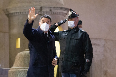 Matteo Renzi leaves the Quirinal Palace after consultations with the President of the Republic Sergio Mattarella