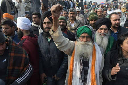 Farmers come from several villages of Uttar Pradesh in Gazipur Border to protesting against three agriculture law introduced by the central government at Delhi Borders in New Delhi, India.