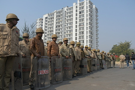Delhi police, Uttar Pradesh police and RAF(Rapid Action Force) deployed at Delhi Gazipur border the place  the farmers protesting against three agriculture law introduced by central government, at Gazipur Border in Delhi.