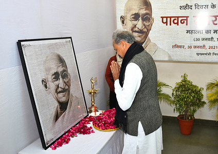 Rajasthan Chief Minister Ashok Gehlot pays floral tributes to Mahatma Gandhi on the occasion of Martyrs Day, observed to mark the death anniversary of the father of nation, in Jaipur.