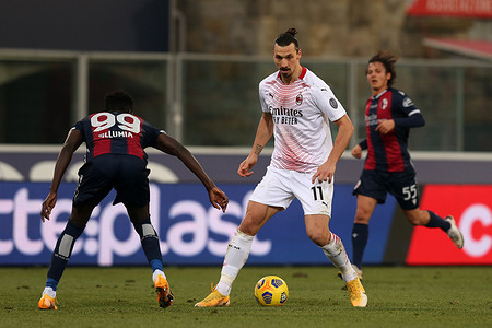 Zlatan Ibrahimovic (Milan) in action during the Serie A Tim match between Bologna FC 1909 and AC Milan at Stadio Renato Dall'Ara on January, 30 2021 in Bologna, Italy.