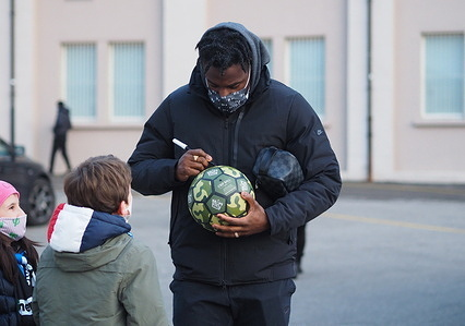 """Serie A football league match between Atalanta and Lazio, after match soccer player Zapata meet their fans outside the """"Gewiss Stadium"""" to sign autographs and takes the photos."""