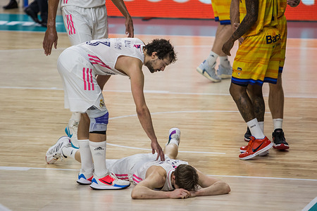 Sergio Llull (L) and Fabien Causeur (on the floor) during Real Madrid victory over Herbalife Gran Canaria (81 - 80) in Liga Endesa regular season game played in Madrid (Spain) at Wizink Center.