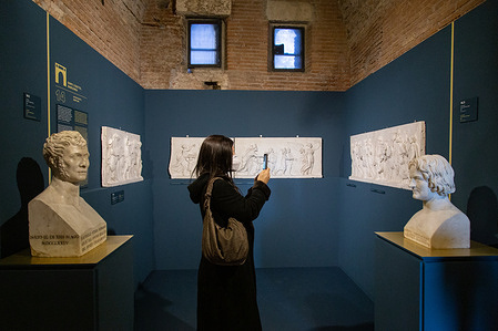 """View of some works from the exhibition """"Napoleon and the Myth of Rome"""" at Mercati di Traiano."""