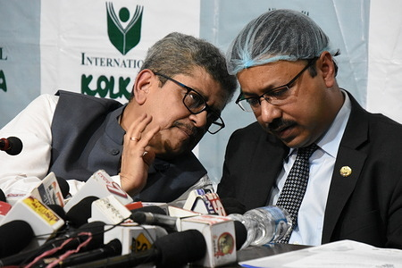 Tridib Kumar Chatterjee (L), President of Publishers and Booksellers Guild talks with Toufique Hasan (R), Deputy High Commissioner of Bangladesh, Kolkata, at the press conference to organize the 45th edition of the International Kolkata Book Fair in the month of July 2021 that will be held at Central Park in Salt Lake, Kolkata, behind its usual schedule of January-February due to the COVID-19 pandemic. This year's theme country would be Bangladesh as 2021 marks the birth centenary of Bangabandhu Sheikh Mujibur Rahman. Also, the neighbouring country would be celebrating fifty years of Independence.