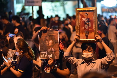 Myanmar and Thailand people protest against military coup of Myanmar Army in front of the Embassy of the Republic of the Union of Myanmar in Bangkok.