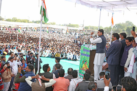 Congress leader Sachin Pilot addresses during Kisan Mahapanchayat (Farmers Rally) to demand rollback of the government's agriculture sector laws in Dausa. Pilot said he condemned the incident at Red Fort but the government was using this as an excuse to file criminal cases against farmers. Opposition parties of India will continue to support the farmers' agitation against the three farm laws.