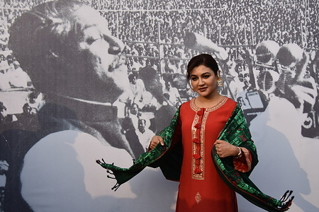 Jaya Ahsan, eminent Bengali actress arrived at the commemoration ceremony of fifty years of the historical public meeting by Indira Gandhi, Prime Minister, India and Sheikh Mujibur Rahman, Prime Minister, Bangladesh, at Brigade Parade Ground in Kolkata that was held on 6th February, 1972, after independence of Bangladesh and also the birth centenary of Bangabandhu Sheikh Mujibur Rahman.