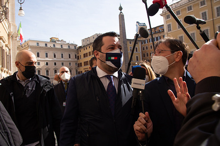 Matteo Salvini meets media in front of Montecitorio Palace after consultations with Mario Draghi.