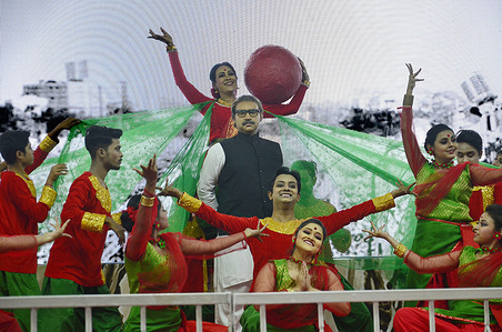 Dancers perform on celebration of Father of the Nation  in Bangladesh Bangabandhu Sheikh Mujibur Rahman's historic speech delivered at the Brigade Parade Ground in Kolkata on February 6, 1972, in Kolkata February 6, 2021.