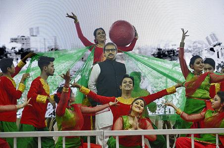 Dancers perform on celebration of Father of the Nation  in Bangladesh Bangabandhu Sheikh Mujibur Rahman's historic speech delivered at the Brigade Parade Ground in Kolkata on February 6, 1972, in Kolkata February 6, 2021.