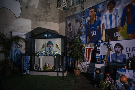 Inauguration of the Votive Chapel for Maradona in the Quartieri Spagnoli, at the base of the mural dedicated to him in the 1980s.