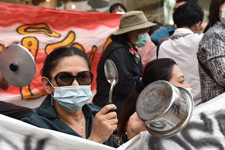 Anti-government demonstrators gather in Pathumwan Intersection in Bangkok, calling for the repeal of Section 112 of the Criminal Code and release their members who were arrested the previous day and today, February 10, 2021.