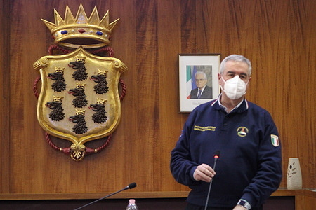 Pozzuoli (Naples) summit on bradyseism and prevention organized by the Department of Civil Protection (PROTEZIONE CIVILE).In picture Angelo Borrelli, Chief of  Department of Civil Protection (PROTEZIONE CIVILE) (capo del Dipartimento della Protezione Civile).