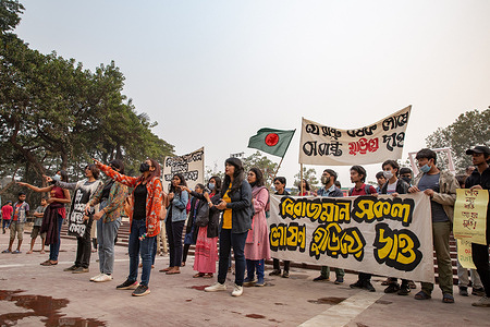 Student activists demonstrate a protest against rape, sexual assault, murder in Dhaka. During the protest activist demand justice and call for a stand against these injustices.