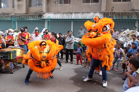 People of Chinese community are doing  a mimic lion's dance movement by playing the drums during the Chinese lunar new year.